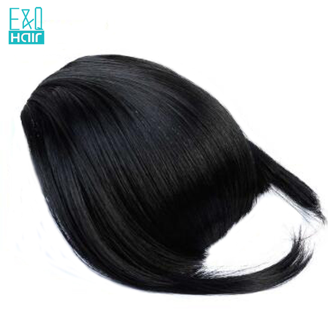 EQ Hair Brazilian Remy Clip In Straight 100% Human Hair Bangs With Baby Hair Natural Color Fringe Hair 1