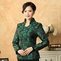Alta calidad verde mujeres chinas capa de poliéster estilo chino Top chaqueta de cuello mao Froral tamaño de la ropa a XXXL T033