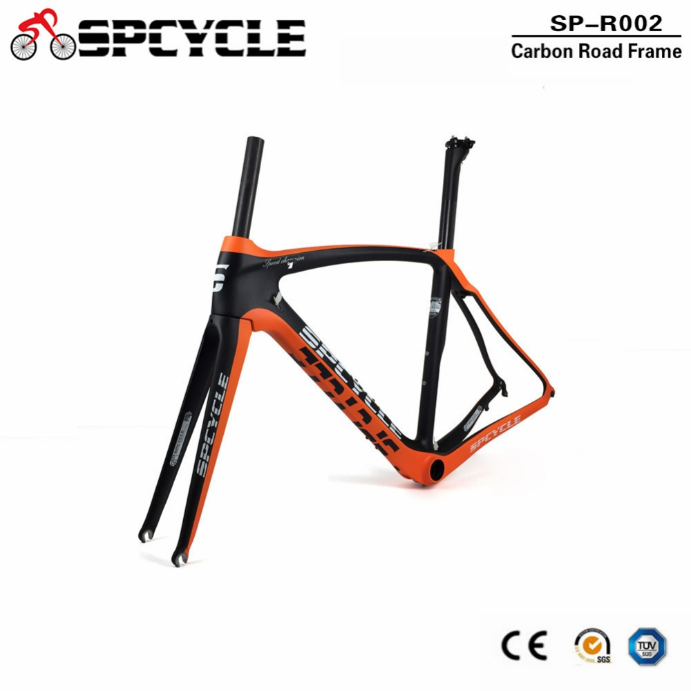 купить Spcycle T1000 Full Carbon Road Bike Frame 700C Road Bicycle Carbon Frameset UD Matt Racing Bicycle Frames With Headset BB386 недорого