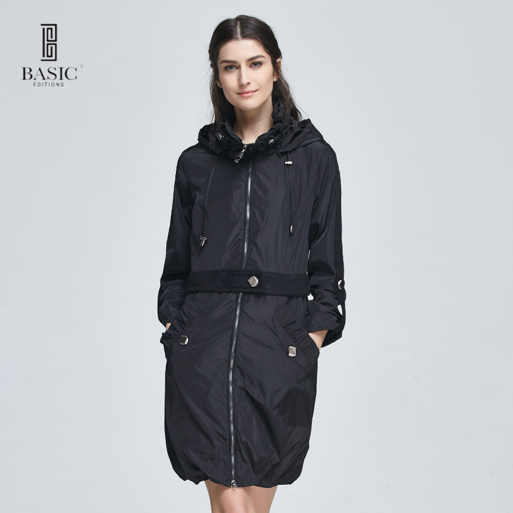 basic editions women casual spring zipper slim fit coat