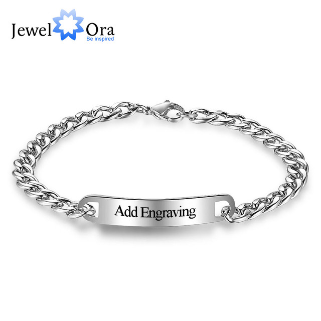 Personalized Id Braceles Custom Engrave Name Silver Stainless Steel Charm Bracelets Bangles For Women