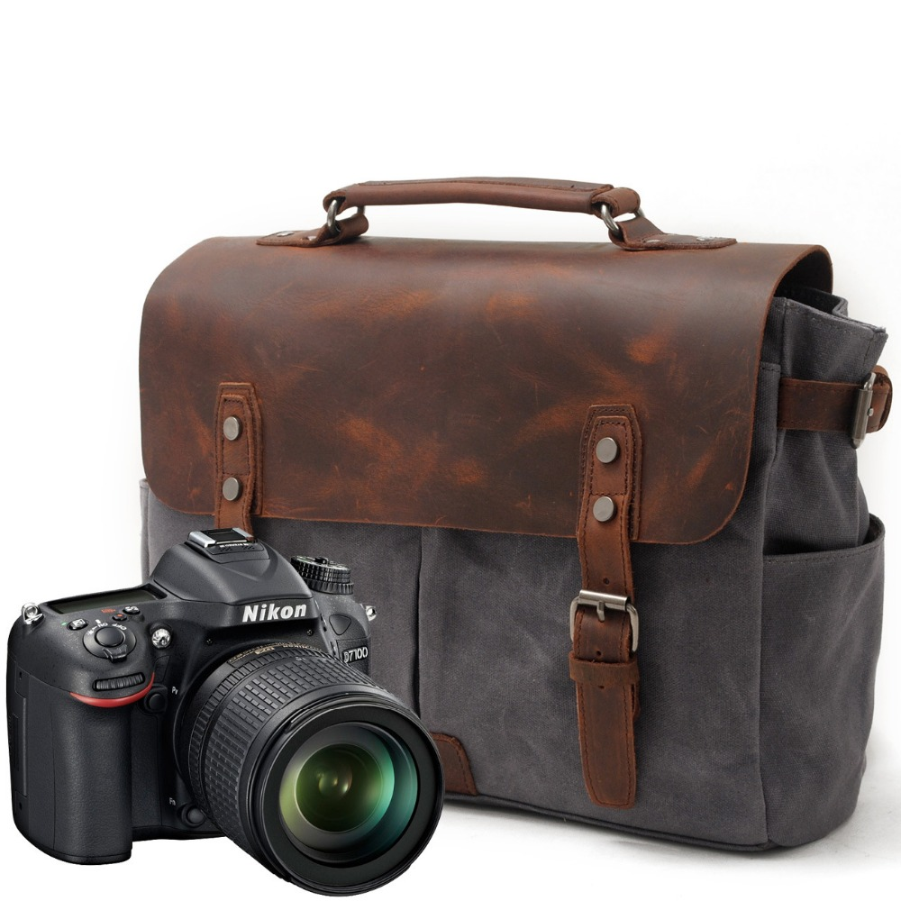 YUPINXUAN Pure Cotton Oil Waxed Canvas Camera Bags for Men Retro Shockproof DSLR Bag Vintage Waterproof Canvas Leather Photo Bag yupinxuan mens vintage oil wax canvas leather shoulder bags shockproof dslr camera bag waterproof canvas crossbody bags russian