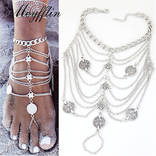 Fashion Coin Anklets Bracelets for Women Barefoot Sandals Foot Jewelry  Ankle Bracelet Chaine Cheville Pulseras Tobilleras Mujer dd4b5476559e