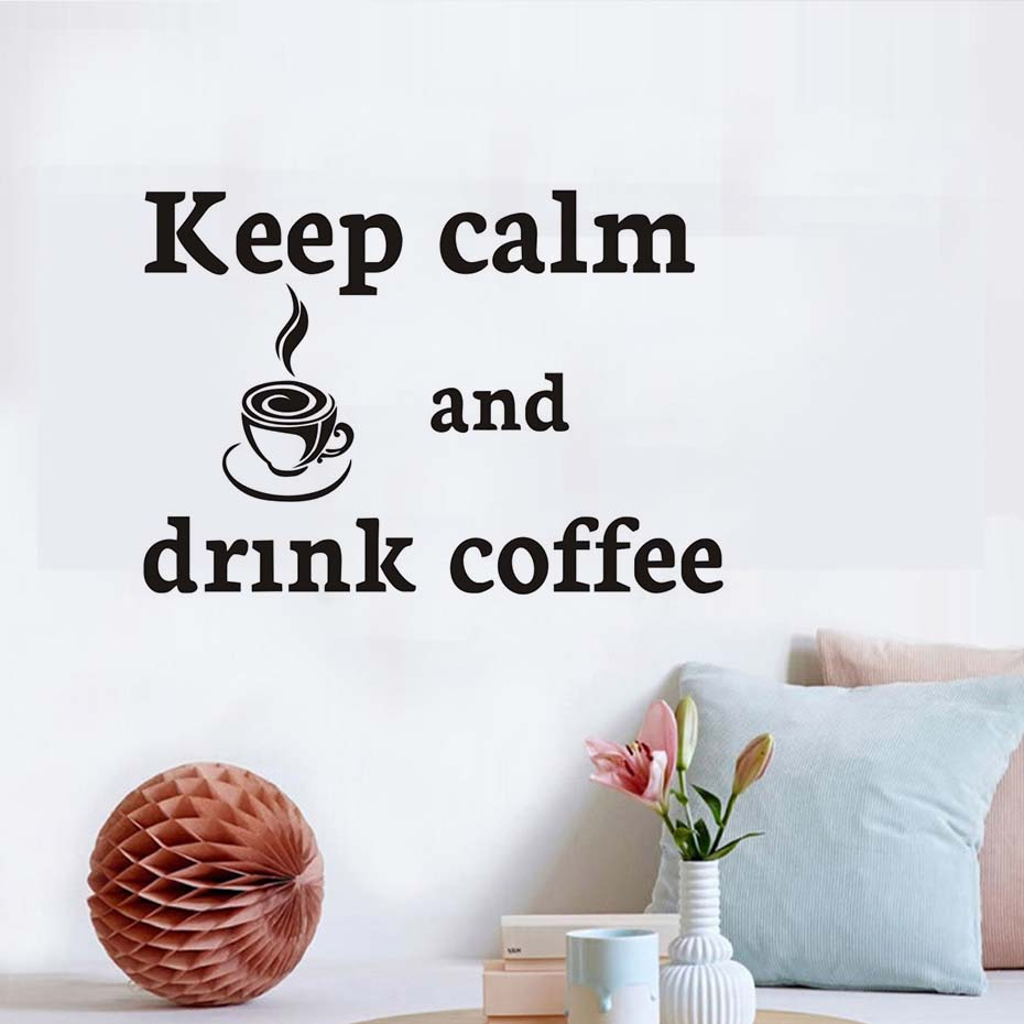 Wall graffiti vinyl lettering - Cut Cartoon Keep Calm And Drink Coffee Wall Sticker Decorative Black Letters Vinyl Removable Home Decor