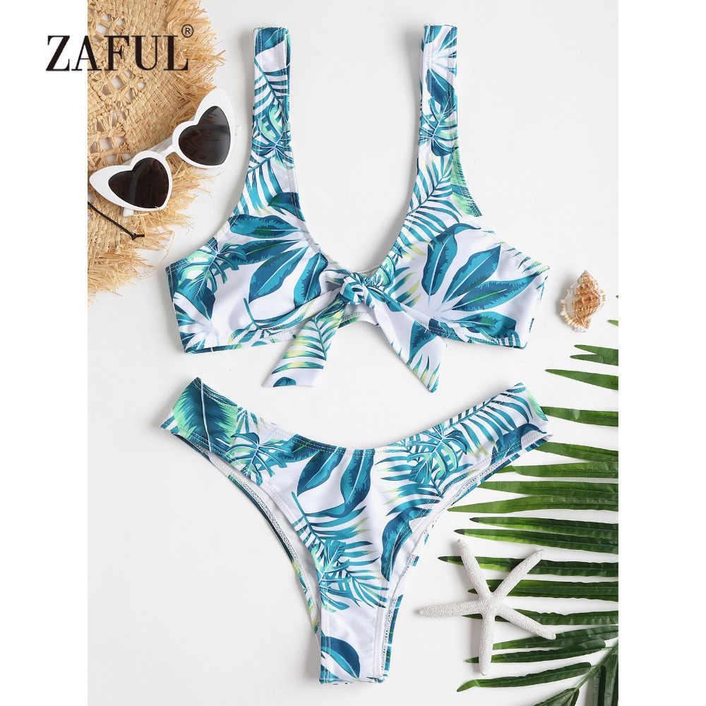 92270b5045 ZAFUL Bikini 2018 Tropical Leaf Bowknot Swimwear Women High Cut Swimsuit  Brazilian Thong Biquni Scoop Neck