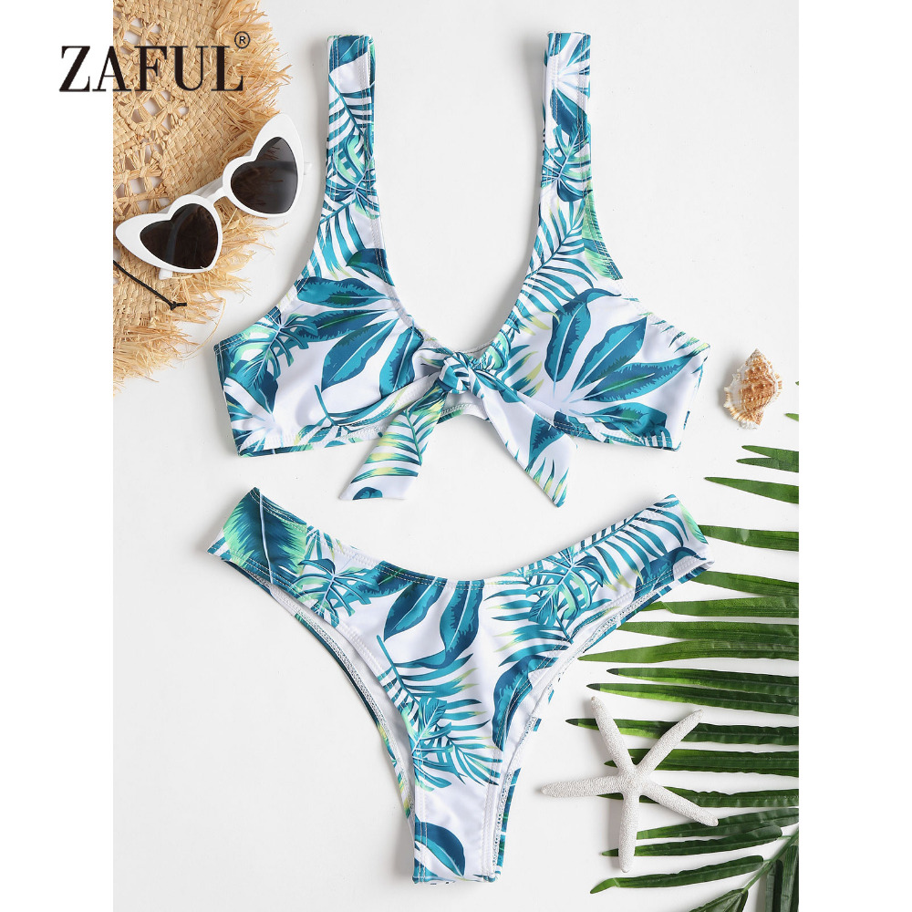 3fb396e18d1c4 Detail Feedback Questions about ZAFUL Bikini 2018 Tropical Leaf Bowknot  Swimwear Women High Cut Swimsuit Brazilian Thong Biquni Scoop Neck Padded  Bathing ...