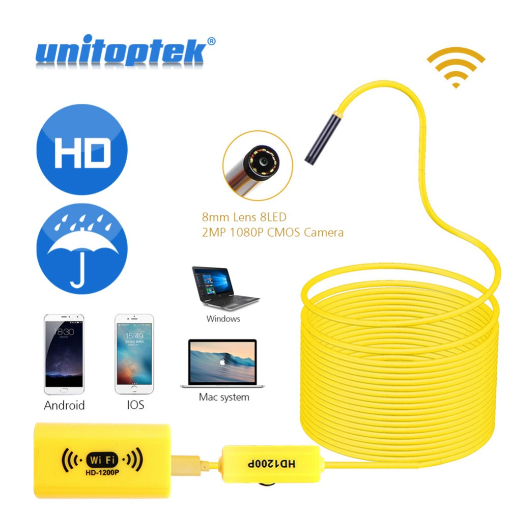 1M 2M 3.5M 5M Wifi Micro 1200P HD Endoscope Camera IOS Android Waterproof IP68 Camcorder Engine Borescope Pipe 8mm Lens 8 LEDs 2m hd 1200p wireless wifi endoscope mini waterproof semi rigid inspection camera 8mm lens 8led borescope for ios and android pc