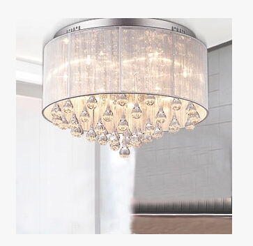 Modern style home decoration bedroom fabric crystal ceiling lamp dining room lights D450MM free shipping loft style 3 4 5 6 lights ceiling lamp vintage personality modern home decoration lights bedroom light free shipping
