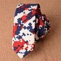 Rojo Azul A Cuadros de Algodón Corbata para Los Hombres 5 cm Corbata Delgada 2017 nuevo Diseñador Flaco Corbata Gravata Corbatas Narrow Estilo Delgado de Lino Del Verano