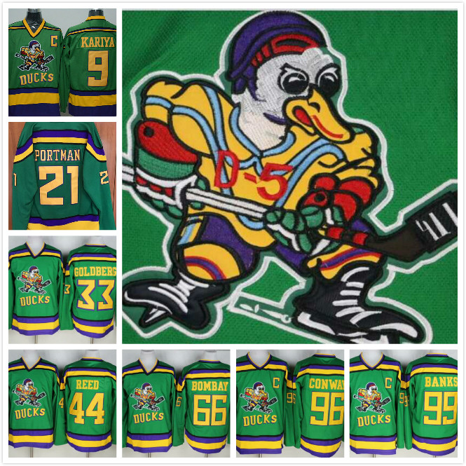 Mighty Ducks Movie Ice Hockey Jerseys 9# 21# 33# 44# 66# 96# 99# All Stitched Vintage Ice Hockey Jerseys Green
