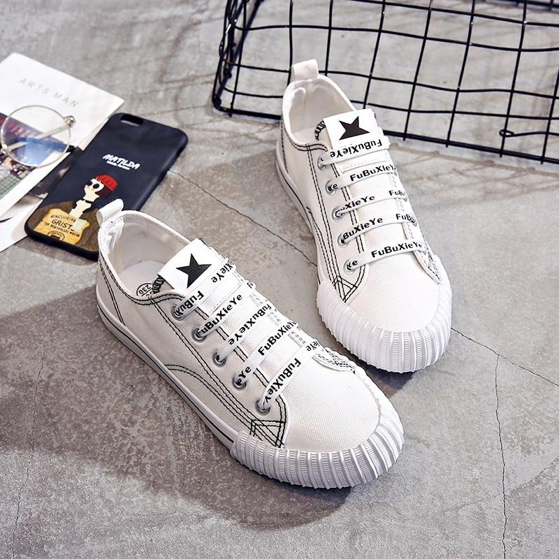 Harajuku Blanc 1 Dentelle Printemps Toile Femme Plat Casual Lettres Chaussures 2 Et D'été 3 Sauvage Nouvelle Rue qwfxqzvB