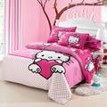 Home textiles bedclothes, Children Kids Bed Linen King Queen Full Hello kitty bedding sets include duvet cover sheet pillowcase