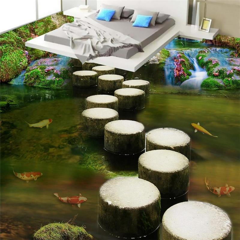 beibehang Summer beach floor floor murals wall stickers 3D wallpaper for living room PVC floor self-adhesive papel de parede 3D