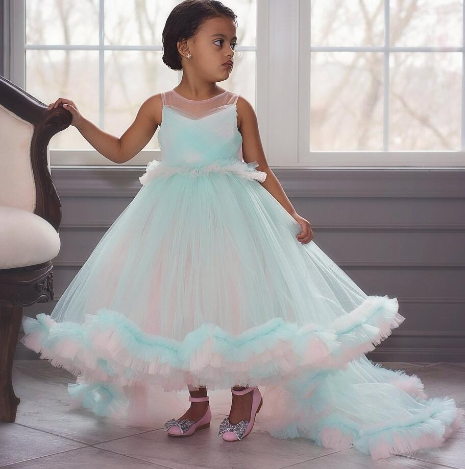Fairy hi lo blue and pink ruffles soft tulle princess birthday party dress girl pageant gown for evening celebration with train