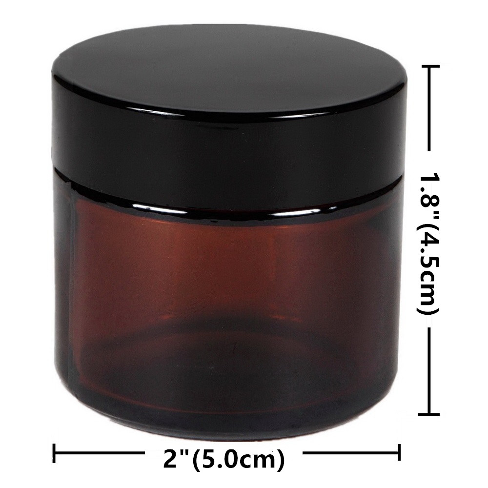 6 X 50g Round Amber Glass Jar Straight Sided Cream Jars w black plastic lid cap inner liner for Salve Homemade lotion cosmetics in Refillable Bottles from Beauty Health