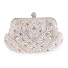 New Fashion Pearl Beading Flower Floral Evening Party Clutch For Women Crystal Casual Wedding Bridal Flap Handbag Shoulder Bag