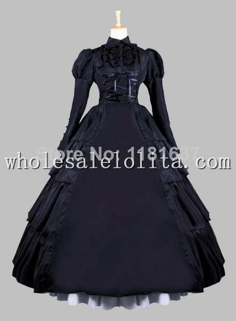 Gothic Black Victorian Era Ball Gown Stage Costume Gothic Dress