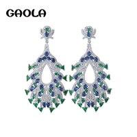 GAOLA Trendy Fashion Shiny Full Multi Zircon Micro Paved Vintage Pendant Dangle Earrings For Women Christmas Brincos GLE6056Y