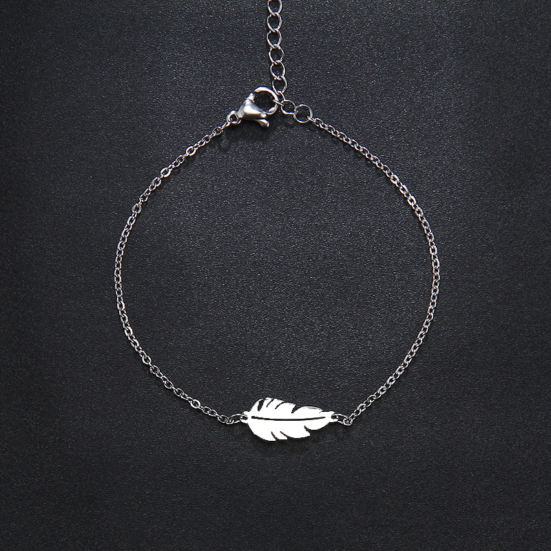 CACANA Stainless Steel Sets For Women Feather Shape Necklace Bracelet Earring Jewelry Lover's Engagement Jewelry S379 14