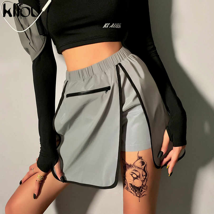 Kliou reflective patchwork sexy shorts bottoms skirts 2019 summer women fashion club party zipper high waist streetwear shorts