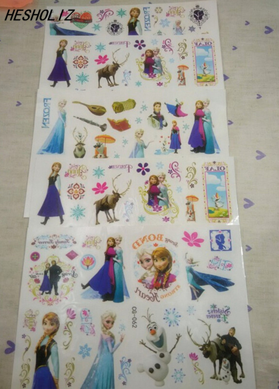 New 5pcs 17*10cm Elsa Anna Child Temporary Flash Tattoo Body Art Sticker Chidren Birthday Party Supplies/Favors/Decoration
