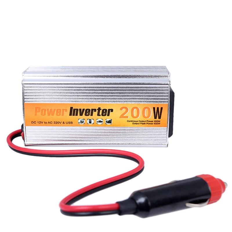 imágenes para 200 w Auto Convertidor de Energía Del Coche Del Inversor 12 v 220 v Con Usb 12 V DC A AC 220 V Adaptador de Adaptador de Coche 200 W Car Styling Envío gratis