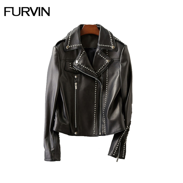Aliexpress.com : Buy FURVIN Women Genuine Leather Black Coats Cool ...