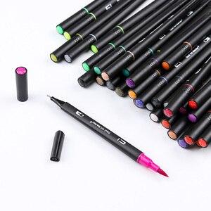 Image 4 - Набор кистей с двумя наконечниками, 60/72/100 цветов, на водной основе, для рисования, акварельные маркеры, школьные принадлежности