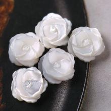Чистый белый натуральный ракушки carven 3d розы шармы бусины