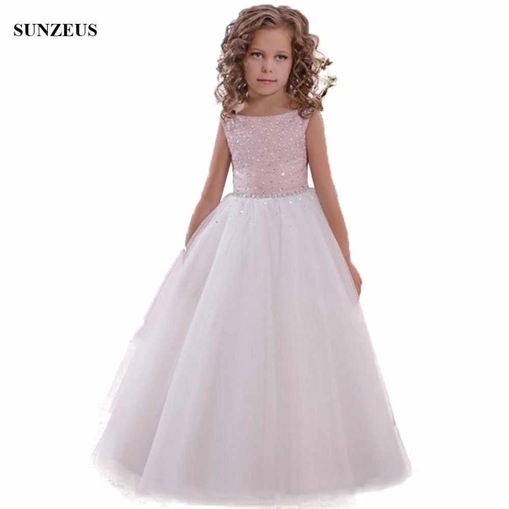 Beaded Pink   Flower     Girl     Dress   With Bow Sash Back A-line Tank Long Tulle Kids Party   Dress   Graduation Gowns Children FLG081