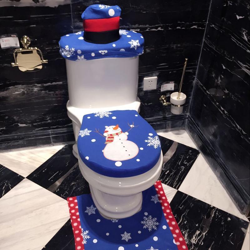 3pcs Santa Claus Snowman Toilet Seat Tank Lid Towel Cover