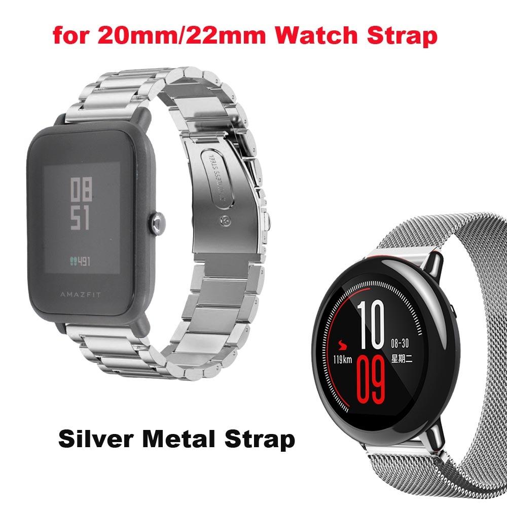Amazfit Correa Watch Band 20mm 22mm for Xiaomi Huami Amazfit Bip Bit Stratos 2 Pace Bracelet Metal Strap Samsung Gear S2 S3 S4
