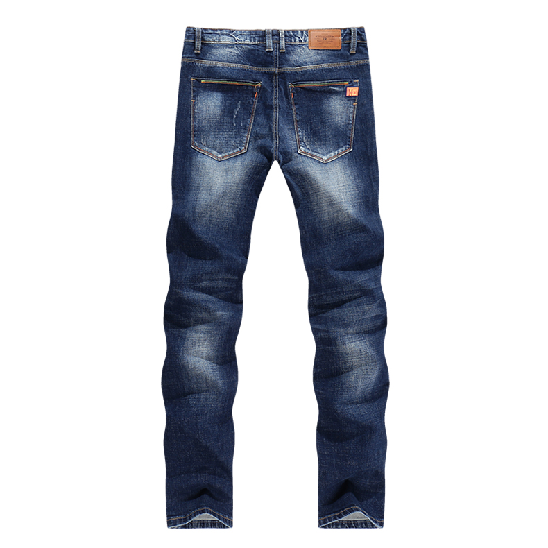 KSTUN Men Jeans Spring and Autumn Denim Pants Straight Slim Fit Elasticity Blue Business Casual