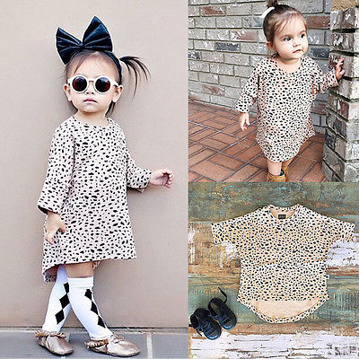 Toddler Kids Girls Autumn 3/4 Long Sleeved Leopard Printing Short Dress fit 0-5T