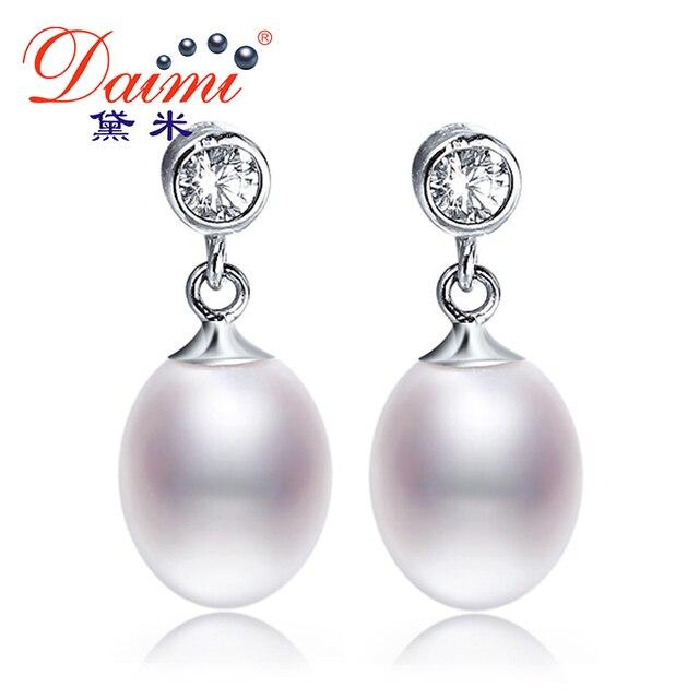 [Daimi] Beautiful Pearl Earrings, Pure 925 Silver Drop Earrings, Natural Pearl Popular Jewelry, Hot Sale PLANET