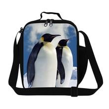 """Персонализированные Пингвин Шаблон дамы обед мешок милые дети изолированные обед сумка для школы, дизайнер """"ланч-бокс"""" сумка с ремешком стильный"""