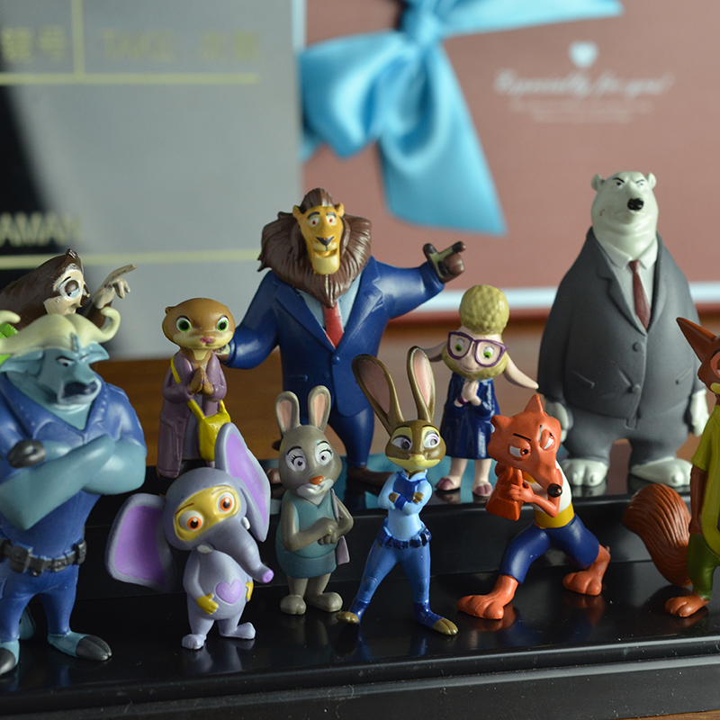 12pcs set Crazy Town Metropolitan Utopia Animal Anime Toys Action Figure Zootopia Mini Models Toy Figures