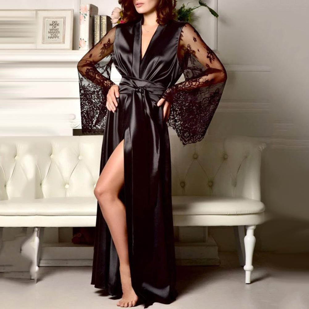 Women Sexy Satin Kimono Robe Bathrobe Lounge Set Sleepwear Female Belt Simulation Silk Lace Long Sleeve Dressing Gown Vestaglia