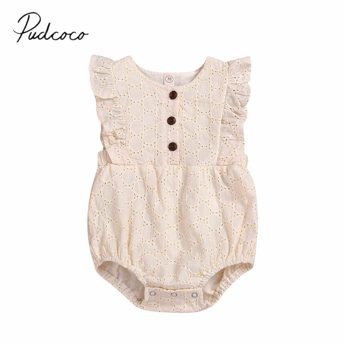 2019 Baby Summer Clothing Newborns Baby Girl Kid Linen Sleeveless Jumpsuit Solid Flowers Jumpsuits Hollow Out Breathable Clothes