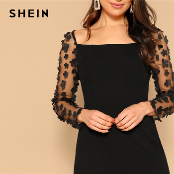 SHEIN Black Sexy Mesh Flower Appliques Sleeve Square Neck Jumpsuit Women Mid Waist Skinny Spring High Street Solid Jumpsuits 5