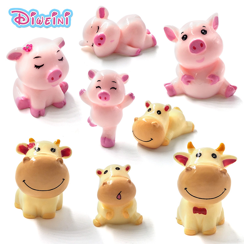 Pig Cow Family Resin Crafts Animal Model Miniature Cartoon Figures Fairy Garden Decoration Accessories Set Toys Gift For Kids