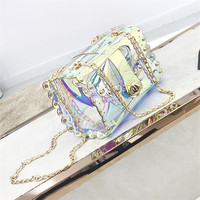 jelly Holographic Women Summer Beach Bag Waterproof PVC Clear Transparent Purse Small Shoulder Bag Designer