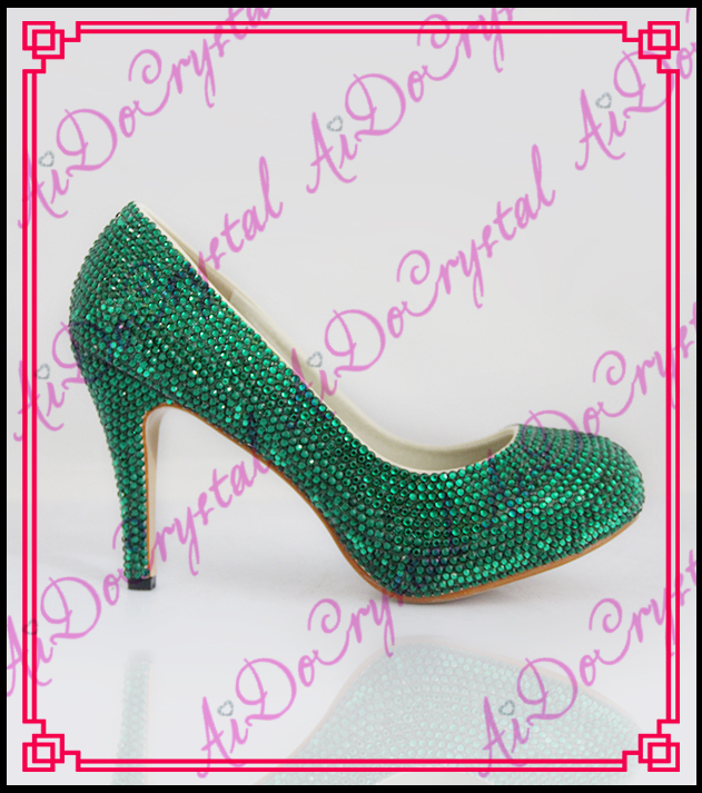 Aidocrystal hot sale classical pure green shoes high heel rhinestones women dress shoe sexy high heels women pumps aidocrystal popular beautiful high heel pink all leather dress shoes