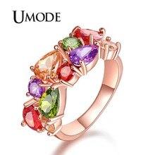 UMODE 2018 New Fashion Colorful Zircon Ring for Women Bohemia Cubic Zirconia Rings Water Drop Anillo Mujer Moda Fashions AUR0441