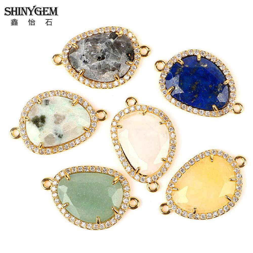 ShinyGem หินธรรมชาติ Connector Lapis Labradorite Aventurine ไม่สม่ำเสมอทองเงิน Charms สำหรับเครื่องประดับทำ
