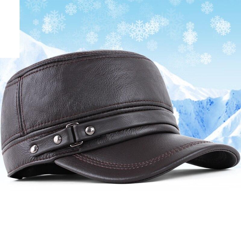 Kagenmo Hohe Qualität Ziege Leder Männer Hut Mode Lässig Männer Frühjahr Im Freien Warme Knochen Krempe Winter Sonnenhut Militärhüte