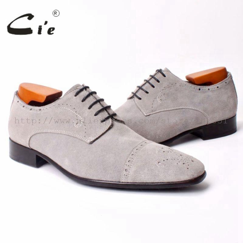 cie Semi Brogues Bespoke Handmade Men s SquareToe Derby Calf Leather Outsole Breathable Shoe Color Light