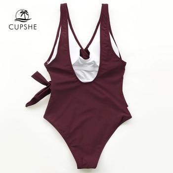 CUPSHE Solid Low Back One-piece Swimsuit Women Burgundy Deep V neck Monokini 2020 Girl Beach Padded Bathing Suit Swimwear 5