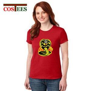 2018 vestido Cobra Kai t-shirt femme camiseta mulheres cobra mamba negra tshirt senhora Encabeça camiseta feminina de aniversário da namorada presente