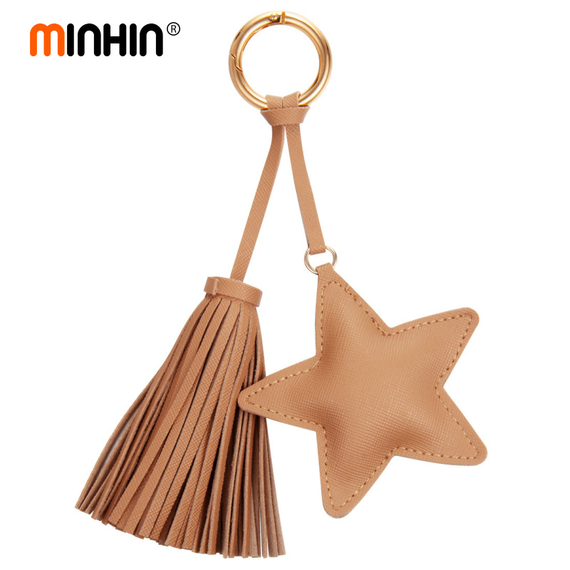 MINHIN Lovely Key Chain Accessories Women Tassel Key Ring Leather Stars Design Car Keychain Jewelry Charm Bag Pendants